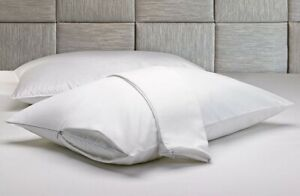 Set Of 2 Cotton Pillow Protector , King Size Cases , Zippered Shams 20 X 36