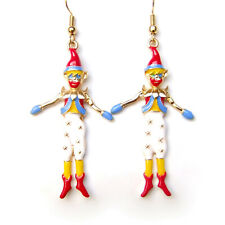 Earrings Colourful Clown Circus Funny Red Blue White Yellow Gold Drop Dangle