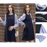 Prenancy Maternity Dress Nursing Breastfeeding Tunic Striped Block 8 10 12 14 16