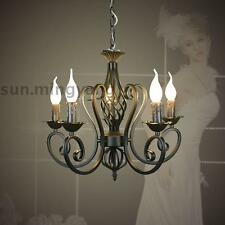 Black Wrought Iron Chandelier Vintage Lustre Lights Ceiling Hanging Pendant Lamp