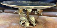 VTG Italian Gold Gilt Floral Leaf Tole Decorative Table W Glass Tray Hans Kogl?
