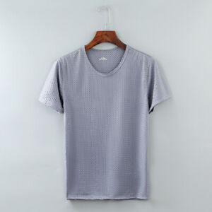 Men Mesh Ice Silk T-Shirt Quick-Dry Breathable Sports Casual Short Sleeve S-4XL