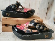 Alegria Clogs Shoes Black Floral Leather Comfort ALG-808 Women Sz EU 35/US 5-5.5