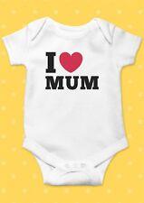 I Love My Mum Heart Smiley Funny Cool Baby Shower Boy Girl Bodysuit Romper 5