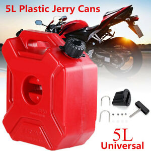 5L Plastic Jerry Cans Gas Diesel Fuel Tank SUV Motorcycle w/ Lock +Mounting Kit