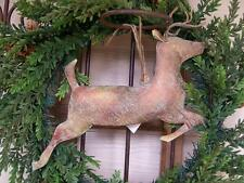 "NWT 12"" x10"" Verdigris finish Metal 3-D REINDEER CHRISTMAS Ornament Wall Decor"