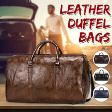 Large Mens Leather Weekend Bags Holdall Bags Sports Duffel Tote Travel Bag  *