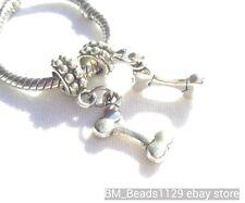 2PC Dog Bone European Dangle Charms Beads fit Bracelet for Dog Lovers