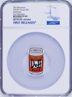 2019 The Simpson Simpsons Duff Beer Rectangular $1 1oz Silver COIN NGC PF 69 FR