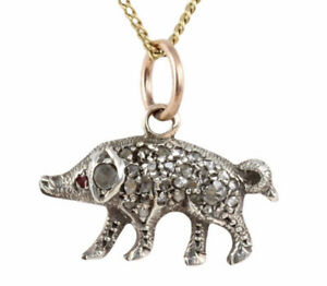 ANTIQUE VICTORIAN GOLD & SILVER DIAMOND ENCRUSTED LUCKY PIG CHARM PENDANT