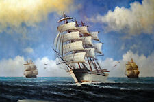Sailing Ship Nautical 1800s Classic Hand Painted Large Oil Painting STRETCHED