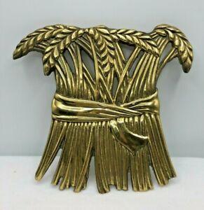 Golden Wheat trivet vintage 1981 Merle Coleman Design Cast Iron hot plate