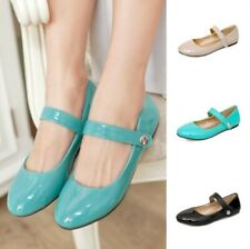 Women Girl Shiny Spring Pumps 4 Colors Candy Student Shoes Mary Janes Size 34-50