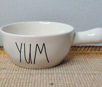 "Rae Dunn Artisian Collection ""Yum""  Soup Bowl W/ Handle,  White W/Black Letters"