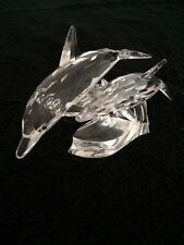 """SWAROVSKI ANNUAL EDITION """" Lead Me"""" Mother And Baby Dolphins On The Ocean Wave"""