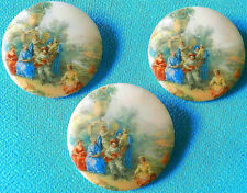 3 Czech Unique Glass Buttons #D672 - XXLarge - Vintage Romantic Motif