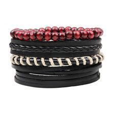 4pcs Black Leather Bracelet for Men Women Tribal Red Beaded Wristband Bangle