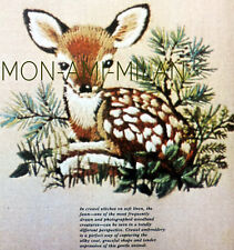 CREWEL EMBROIDERY NEEDLEPOINT TRACEABLE PATTERN To Make a Cute FAWN DEER BAMBI