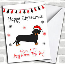 Daschund From Or To The Dog Pet Christmas Customised Card