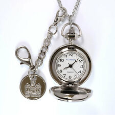 Ladies Pendant Plain Pocket Style Watch Silver Finished White Face TIM010