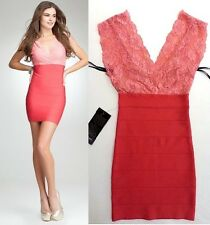 NWT bebe coral pink deep v neck lace bandage club sexy top skirt dress XS 0 2