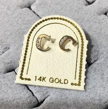 US Seller 14K Yellow Gold Initial Letter C Stud Earrings Pair CZ