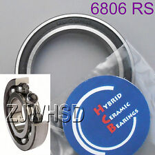 6806 2rs Si3n4 Hybrid Ceramic Ball Bearing Rubber 30 X 42 X 7mm