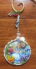 "Disney Alice In Wonderland 3 1/2"" Inch Round Glass Christmas Tree Ornament *NEW*"