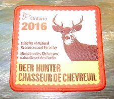 2016 ONTARIO MNR DEER HUNTER PATCH-MICHIGAN DNR DEER-BEAR-MOOSE-ELK-CREST-BADGE