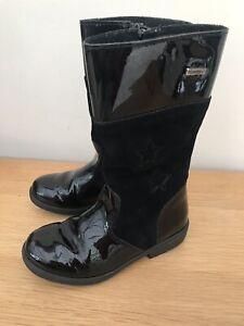Ricosta Girls Black Suede High Boots,School Shoes,Uk 11,Eu 29,excellent