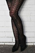 Warm BLACK Stretch Nylon Knit Thick Tights Pattern Stocking FAST POST