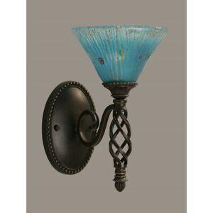 Toltec Lighting Elegante Wall Sconce, 7' Teal Crystal Glass - 161-DG-458