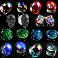 Ear gauges plugs  Aliens owl glitter  plugs solid glass double saddle tunnels