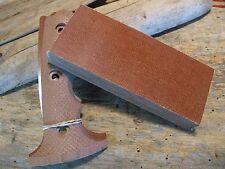 "NATBRN CANVAS COLOR G-10 MICARTA KNIFE HANDLE MATERIAL 3/8"" 5X1 3/4""  FREE SHIP["