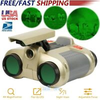 4X30mm Kids Toy Night Vision Binoculars w/ Pop-Up LED Light for Watching Hiking
