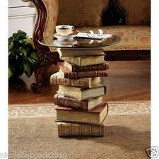 """21"""" ARTISTIC Glass Table Top End Accent Side Sculptural Unique Library Books"""