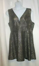 NEW WOMENS PLUS SIZE 3X BLACK WITH GOLD & SILVER SHIMMERY  SKATER DRESS
