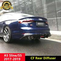 B9 S5 Rear Diffuser Spoiler Carbon Fiber for Audi A5 Sline B9 2017-20 K Style