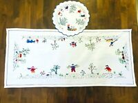 Vintage Asian Figures & Animals Embroidered Table Runner/Dresser scarf w Doily