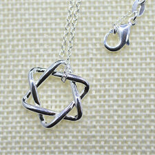 "Shiny 925 Sterling Silver PL Cutout Cute Hexagram Star Pendant Necklace 18"" Gift"