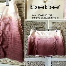 NWT Bebe Dip Dye Cascade Ruffle SKIRT Silk Tiered Purple Ombré MINI Sz M W32 HOT
