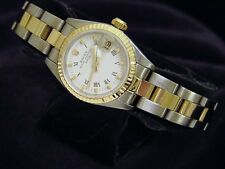Rolex Date Lady 2Tone 18K Yellow Gold Steel Watch Oyster White Roman Dial 69173