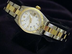 Rolex Date Lady 2Tone Yellow Gold Steel Watch Oyster White Roman Dial 69173