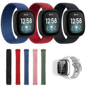 For Fitbit Versa 3/2/1/Sense Elastic Nylon Strap Braided Solo Loop Watch Band UK