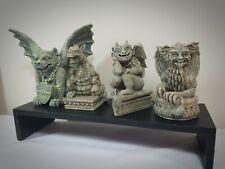 "Lot of 4 Gargoyle Figurines Statues Resin 4""-5.5"" tall Stone like"