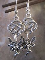 Pretty Silver Fairy Goddess Celtic Knot Earrings .925 Sterling Silver Wires