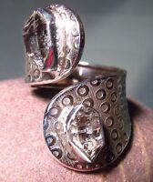 925 silver chunky double rough Herkimer Diamond quartz stone ring UK M½/US 6.5