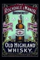 Rochdale & Manor Highland Whisky Letrero de Metal Arqueado Cartel Lata 20 X 30Cm