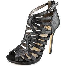 c0f1e23d786 Sam Edelman Eve Platform Dress Sandals HEELS Black Granite Metallic Size 10