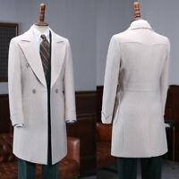 Men's Suits Wool Overcoat Outwear Double-breasted Winter Long Jacket  Blazer